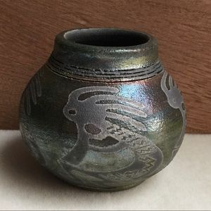 Jeremy Diller Rainbow Raku Kokopelli Spirit Pot